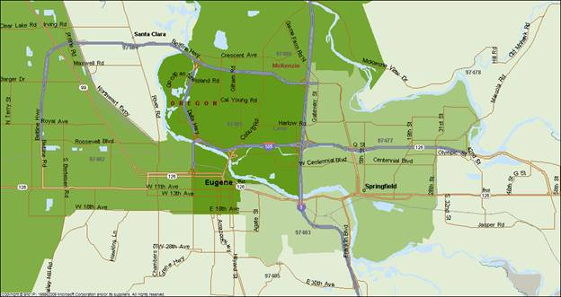 Eugene Oregon Zip Code Map | woestenhoeve on